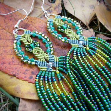 Long micro macrame earrings - Tassel Fringe Bright Green Shades Leaves Unique Beadwork Bohemian Boho