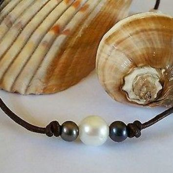 Freshwater White and Peacock Pearl on Organic AAA Leather Necklace/Choker