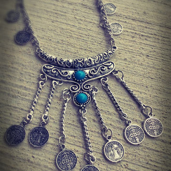 Boho necklace, gypsy necklace, coin necklace, tribal necklace, Tibetan necklace, ethnic necklace, festival necklace, mystic necklace,