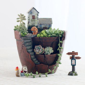 Fairy Garden Pot Enlarged 6 Inch Creative Flower Pot Hanging Garden Design with Sweet House Planter for Holiday Decoration