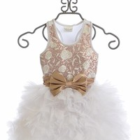 Ooh La La Couture Girls Wow Dream Dress in White Rose Gold