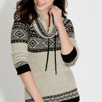 pullover sweater with cowl neck and metallic stitching