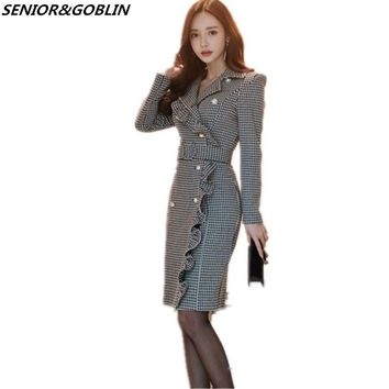 High Quality Women Plus Size Party Midi Dresses 2018 Winter Double-breasted Long Sleeve Ruffles Bodycon Houndstooth Office Dress