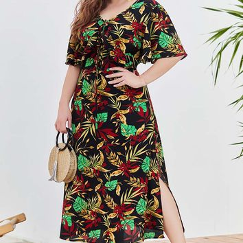 Hawaiian Jungle Leaves Print Dress