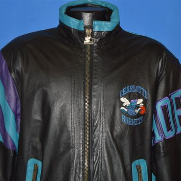 90s Charlotte Hornets Leather Starter Jacket Medium