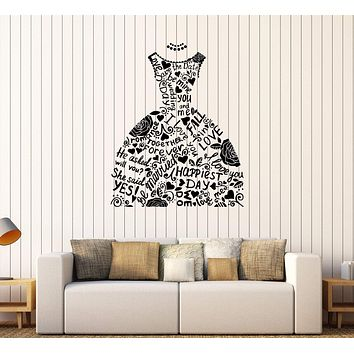 Vinyl Wall Decal Wedding Dress Bridal Shop Marriage Fashion Stickers Unique Gift (363ig)