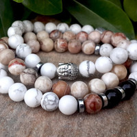 SALE - Spiritual Beads, Mens Womens Buddha Mala Bracelet Set, Spiritual, Meditation, Protection, Prayer, Gift For Her, Gift For Him