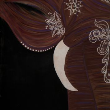 Hand Painted Bohemian Elephant (Brown) 24x30 Canvas