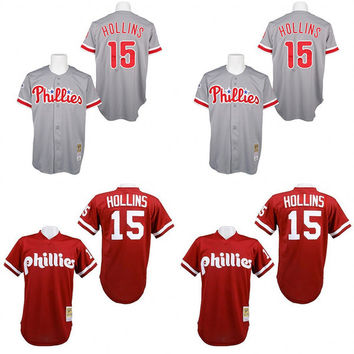 Red Grey 1991 Throwback Dave Hollins Jersey , Men's #15 Mitchell And Ness Philadelphia Phillies