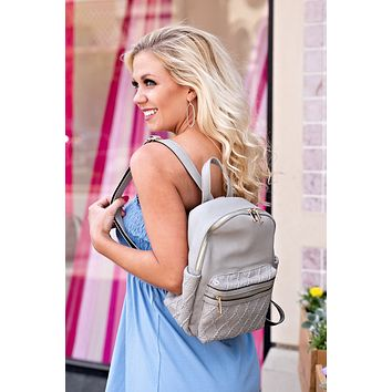 Diamond Quilted Backpack : Grey