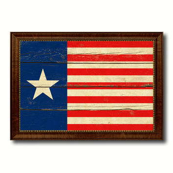 Texas Navy Texan Revolution 1838-1846 Naval Jack Military Flag Vintage Canvas Print with Brown Picture Frame Gifts Ideas Home Decor Wall Art Decoration