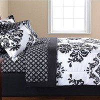 Black & White Damask Queen Comforter & Sheet Set (8 Piece Bed In A Bag)