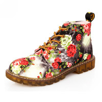 Cotton Fashion Retro Printed Autumn ankle boots  flat heel shoes  Martin boot