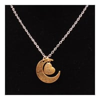 X329 love Valentine's Day love couple of European and American moon necklace ebay jewelry supply   AUNT GOLD