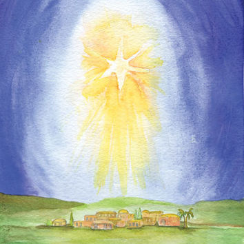 Watercolor Christmas Cards Star Over Bethlehem Set