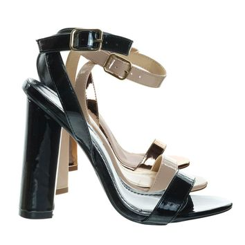 Olov2 Chunky Block Heel High Heel Open Toe Stilettos, Women Ankle Strap Sandal