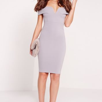Missguided - V Front Bardot Midi Dress Grey