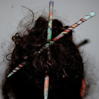 Tie Dyed Polymer Hair Sticks Set of 2
