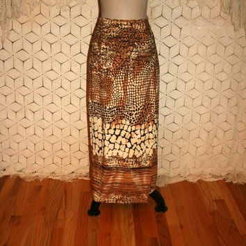 Vintage Animal Print Maxi Skirt African Print 90s Long Skirt Brown Print Tribal Print Faux Wrap Skirt Size 8 Skirt Medium Womens Clothing