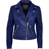 River Island Womens Blue floral embossed sleeve leather jacket