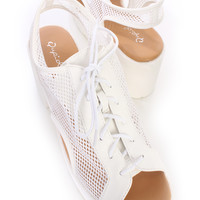 White Lace Up Peep Toe Sneaker Sandals Mesh Netted