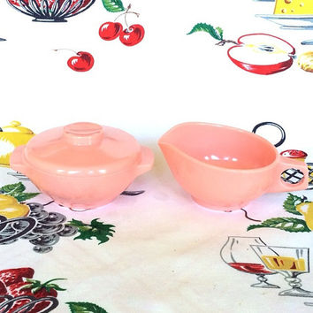 1950s Harmony House Melmac Pink Melamine Avalon Creamer and Sugar Bowls Vintage 50s Kitchen
