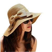 Shocking Show Bohemian Summer Sun Floppy Hat Straw Beach Wide Large Brim Cap