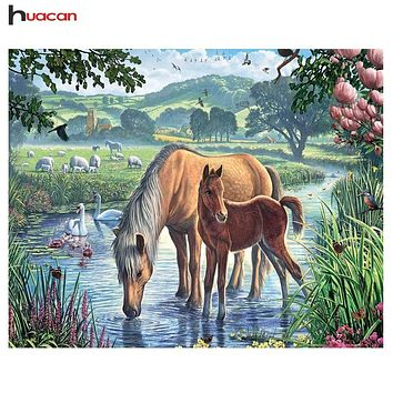 5D Diamond Painting Swans and Horses Kit