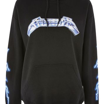 Metallica Lightening Print Hoodie by And Finally | Topshop