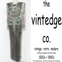 retro // 20s 30s deco olde hollywood bead sequin grand ball gown party dress S