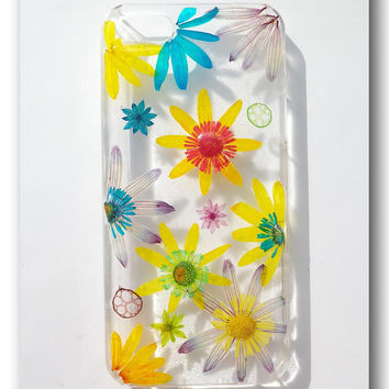 Handmade iPhone 5 case, Resin with Real Flowers, colorful