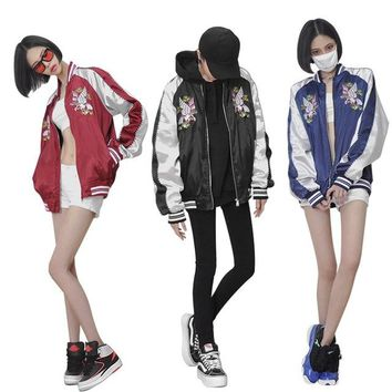 Hot Japanese Unisex Harajuku YOKOSUKA Feel Eagle Colorful Embroidery Jacket Patchwork Cool Baseball Outwear 3Colors High Quality