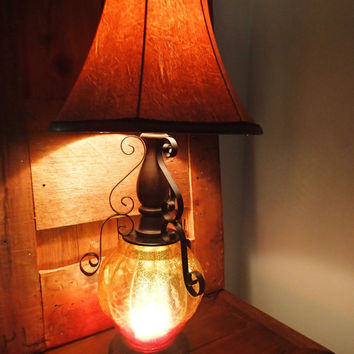 Gothic table lamp  mid century Retro 1970's, wrought iron accents, pumpkin shaped glass textured globe, 3 way light, mood light