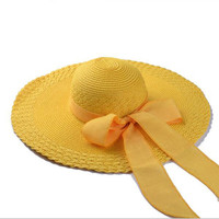 Brand New Wide Brim Floppy Hats Women Summer 2016 Fashion Women's Cap Sun Hat Women Foldable Bowknot Straw Hat With A Rope