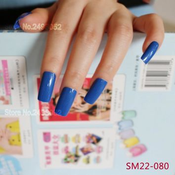 Hot Fashion Artificial Fake Nails 20pcs Long Size False Nails Art Tips Full Cover Nails Faux Ongles Blue with Glitter 22FN-080
