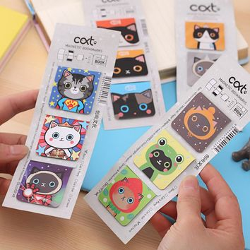 3pcs/lot Cute Kawaii Magnetic Paper Bookmark Lovely For Cat Bookmarks For Kids Korean Stationery Free Shipping