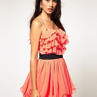 Lipsy | Lipsy Ruffle Bust Prom Dress at ASOS