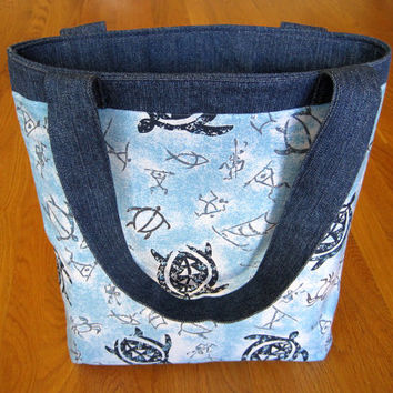 Large Tote Bag - Hawaiian Blue Sea Turtles, Honu, Petroglyphs, kii pohaku, Crabs, Fish, Warrior men - Heavy Duty Denim, Cotton - Made In USA