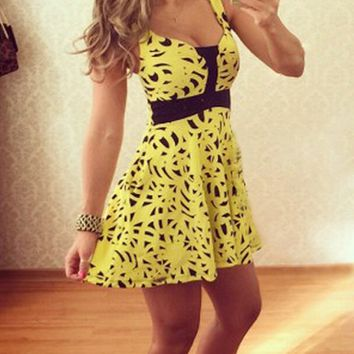 Yellow Print Strappy A Line Dress