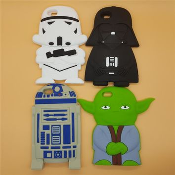 "NEW 3D Soft Silicone Star Wars Darth Vader Yoda R2D2 Back Cover Case For iPhone 4 4S SE 5 5S 5C 6 6S 7 8 4.7"" Plus 5.5"""