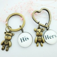 Couple Keychains His Hers Glass Black White Bears Valentine Heart Gift