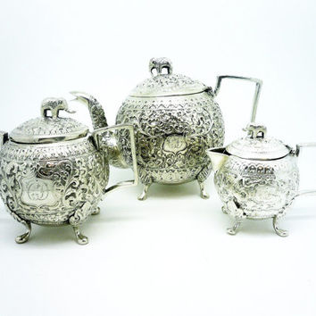 Indian Kutch Bhuj Silver Tea Set Teaset, c.1880, Elephant, Antique, India, Teapot, Tea Pot, Sugar Bowl, Cream Jug, REF:252E