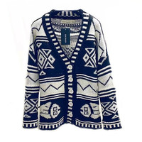 Women Ethnic Geometric Knitted Cardigan Sweater