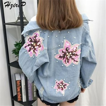 Trendy HziriP New Denim Jacket Women 2018 New Casual Blue Holes Pearls SequinWashed Sequined Regular Jackets Streetwear Loose Coat AT_94_13
