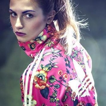 Fashion Online Adidas Originals Zip Front Tracksuit Top In Floral Print