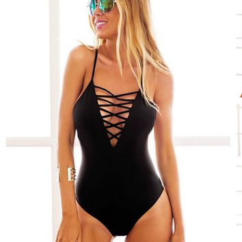 Fashion Sling Bandage Solid black one-piece swimsuit