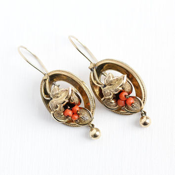 Victorian Coral Earrings - Antique Gold Filled Dangle Drop 10k Rosy Yellow Gold Wires - Vintage Pierced Etruscan Revival Leaf Rare Jewelry
