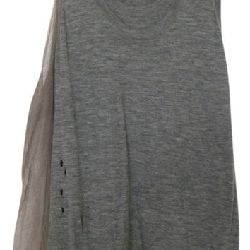 Vera Wang Gray 100% Cashmere, Silk Chitton Cocktail Party Above Knee Drape Knit Sweater Tunic L Dress