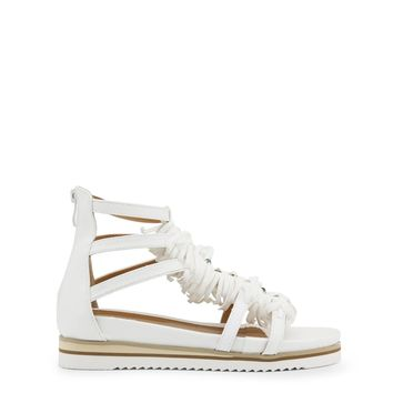 Enrico Coveri White Round Toe Fringe Sandals