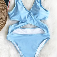 Cupshe Ocean Planet Cross One-piece Swimsuit